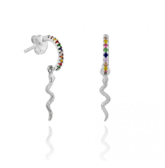 PENDIENTES COLORFUL SNAKE SILVER