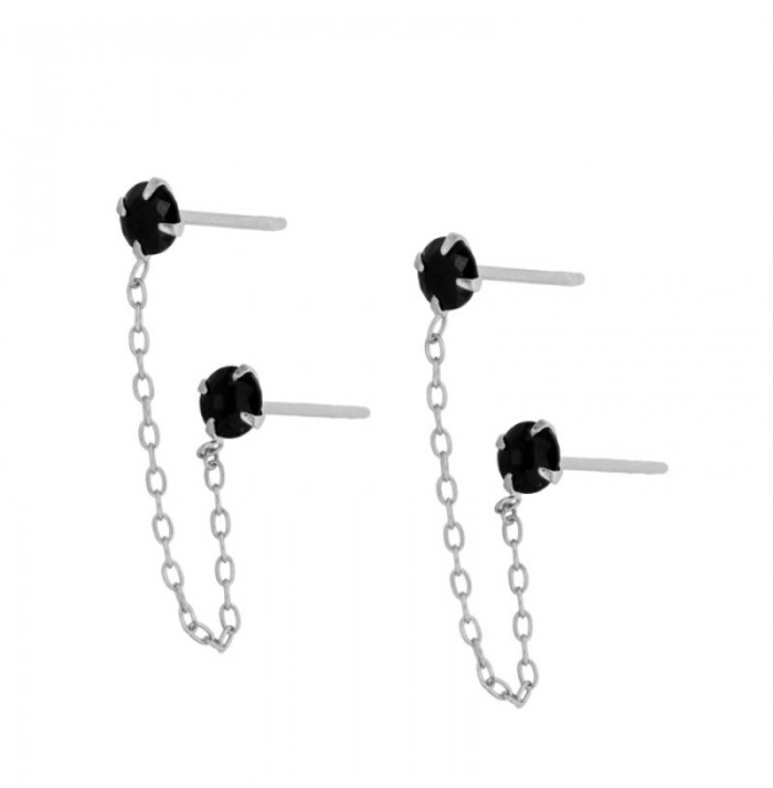 PENDIENTES YOU & ME BLACK SILVER