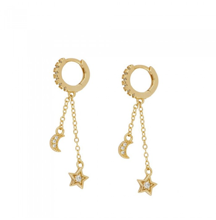 PENDIENTES MOON & STAR GOLD