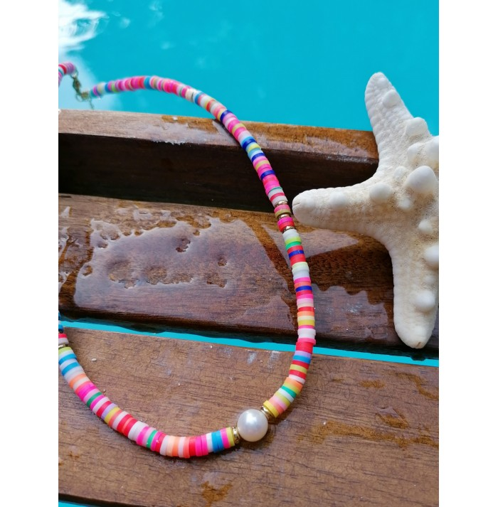 COLLAR COLORS & PEARLS GOLD