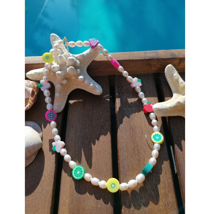 COLLAR CHIC FRUITS  GOLD