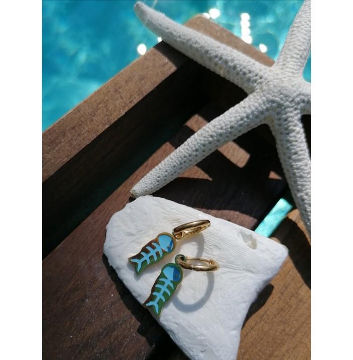 PENDIENTES LITTLE FISH BLUE GOLD